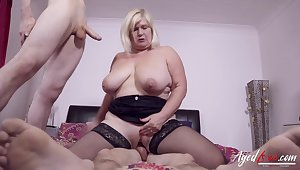 Two horny studs got some hardcore drilling action for busty british mature lady
