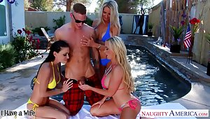 Busty babes are fond of debauched FFFM foursome to reach orgasm together