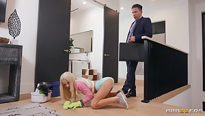 Dazzling ebony suits sexual needs nets to petite blonde