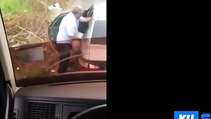 Hidden cam older man fucks in the street