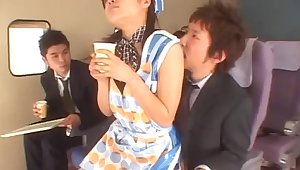 MMF fucking in the plane with a sexy Japanese stewardess. HD