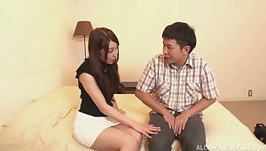 Simmering slut Rina Uchimura removes will not hear of clothes ride his cock