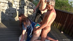Hardcore outdoors bungling group sex with exploitatory sluts Iveta and Aneta