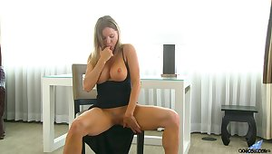 Horny nympho flashes and plays there her boobies by means of nice solo