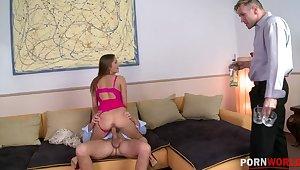 Sexy teen slut Irina Bruni sanwiched & DP'ed until she screams increased by creams GP1101